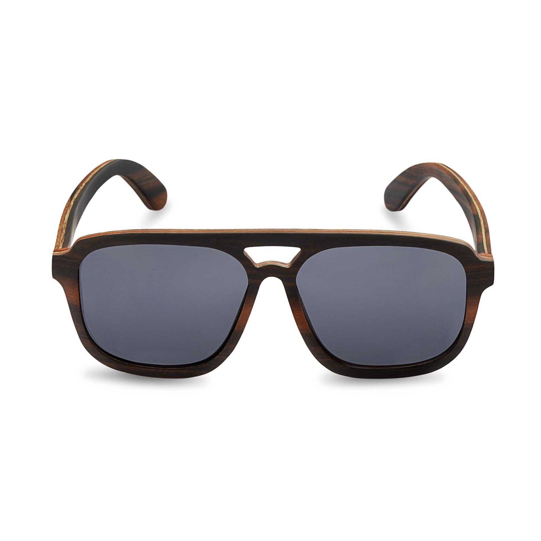 536aaf8878b08 Caprio Unisex Wooden Double Bridge Aviator Sunglasses