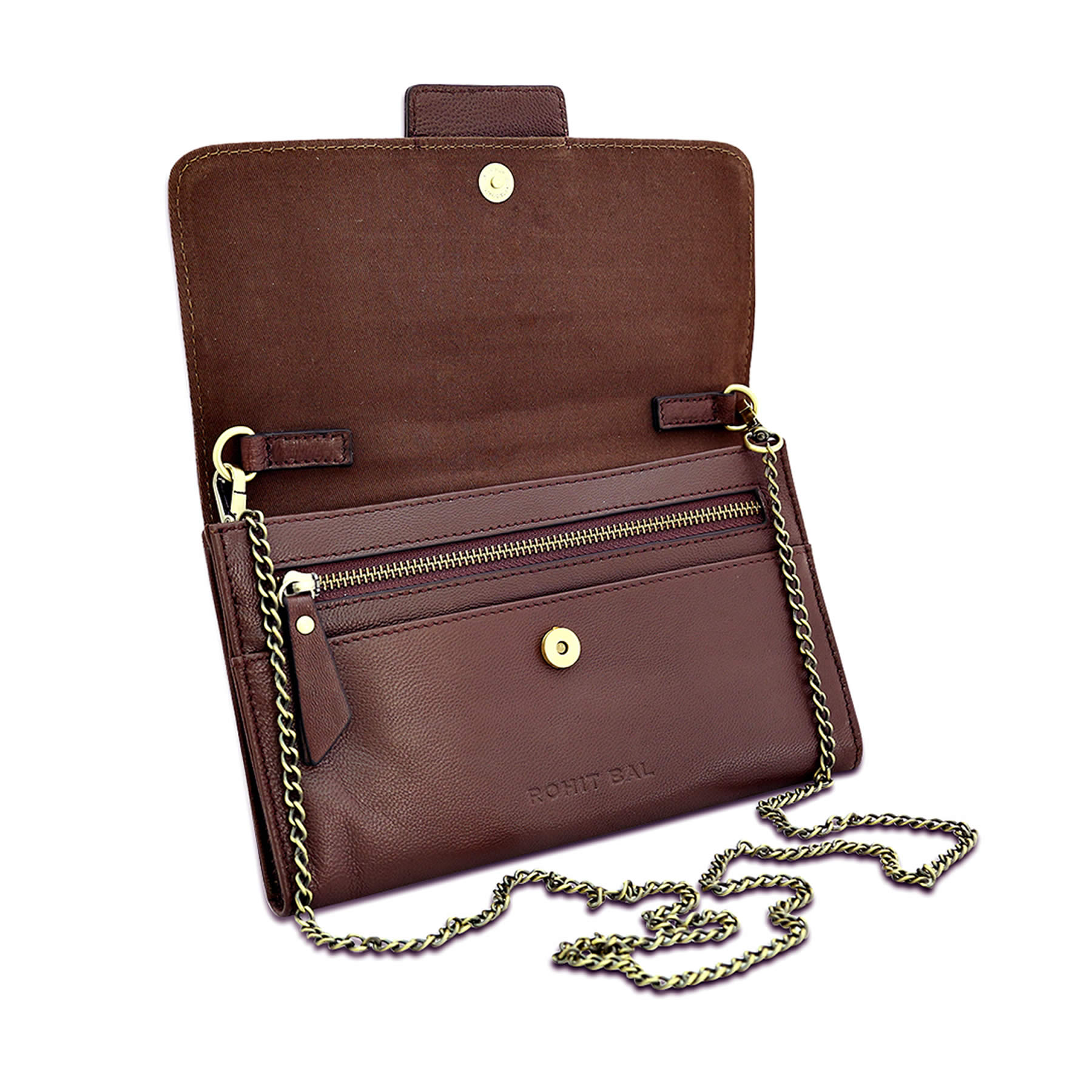 Rohit Bal Brown Leather Sling Bag for Women