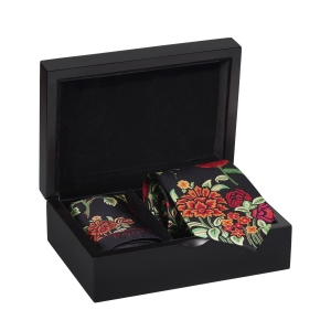 Rohit Bal Botanical Silk Tie & Pocket Square Set