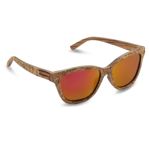 Caprio Mirrored Cork Wood Rectangular Sunglasses for Men