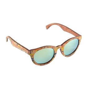 Caprio Mirrored Cork Wood Sunglasses for Women