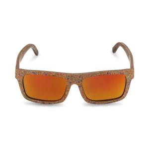 Caprio Cork Paper Wood Rectangular Sunglasses for Women