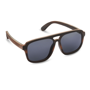 Caprio Unisex Wooden Double Bridge Aviator Sunglasses