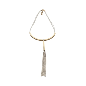 Lesk Bar and Tassel Pendant Necklace