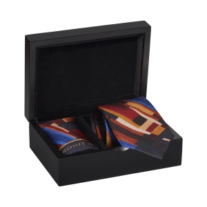 Rohit Bal Modern Abstract Silk Tie & Pocket Square