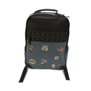 Vajero Unisex Denim Backpack with Patches
