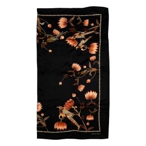 Rohit Bal Bird & Lotus Print Silk Scarf