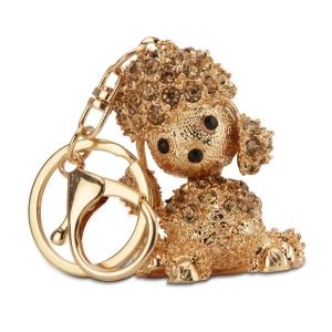Lesk Embellished Dog Keychain