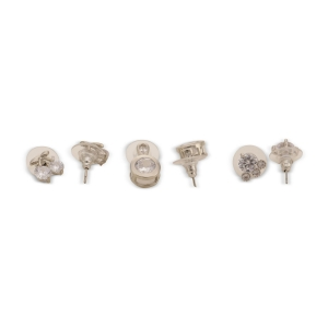 Lesk Set of Six Silver-Toned Studded Earrings 00088