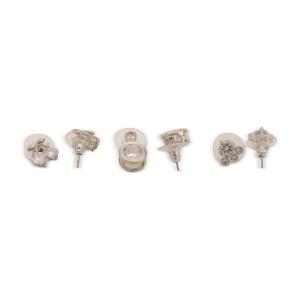 Lesk Set of Six Silver-Toned Studded Earrings 00088
