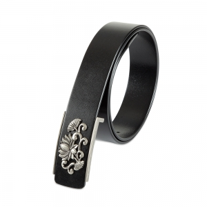 Rohit Bal Floral Buckle Black Italian Leather Belt (32/34)