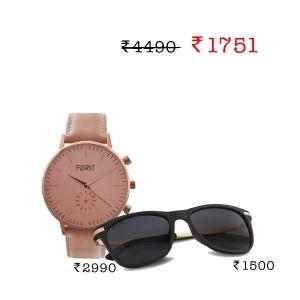 Forst Analogue Watch + Caprio Unisex Retro Sunglasses