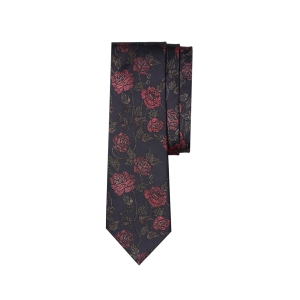 British Rose Print Silk Tie