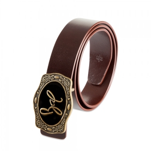Rohit Bal Signature Buckle Blood Red Italian leather Belt (32/34)