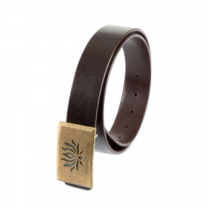 Rohit Bal Signature Lotus Buckle Coffee Brown Italian Leather Belt (28/30)
