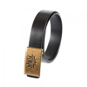 Rohit Bal Signature Lotus Buckle Black Italian Leather Belt 32/34)