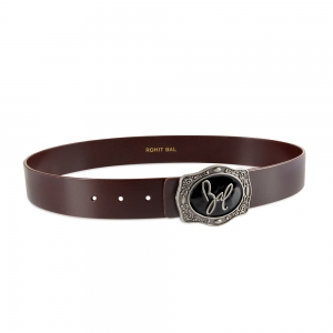 Rohit Bal Signature Buckle Blood Red Italian leather Belt (28/30)