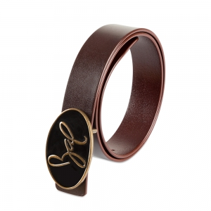 Rohit Bal Signature Logo Blood Red Italian Leather Belt (32/34)