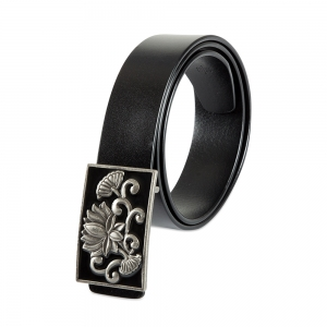 Rohit Bal Limited Edition Lotus Buckle Black Italian Leather Belt (28/30)