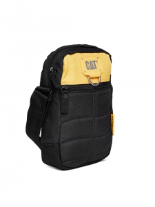 CAT Unisex Rodney 1.5 Ltrs 4 Compartment Black/Yellow Solid Casual Messenger Bag (83437-12)
