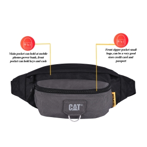 CAT Unisex Raymond Anthracite Wasit Bag /Travel Pouch/ Passport Holder with Adjustable Belt  (83432-172)