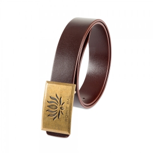 Rohit Bal Signature Lotus Buckle Blood Red Italian Leather Belt (32/34)