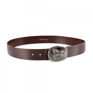 Rohit Bal Horse Buckle Blood Red Italian Leather Belt (28/30)