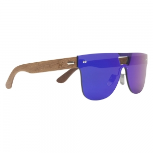 Rohit Bal Walnut Wood Mirrored Shield Sunglasses for Men