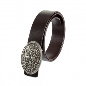 Rohit Bal Lotus Coffee Brown  Italian Leather Belt (28/30)