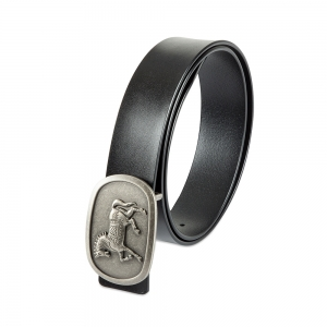Rohit Bal Horse Buckle Black Italian Leather Belt (32/34)
