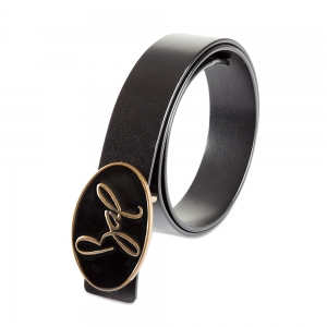 Rohit Bal Signature Logo Black Italian Leather Belt (28/30)