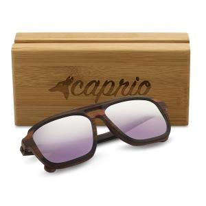 Caprio Unisex Wooden Double Bridge Aviator Sunglasses