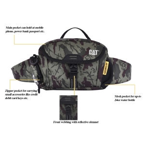 CAT Unisex Fuji Olive/Chocolate Wasit Bag /Travel Pouch/ Passport Holder with Adjustable Belt  (83366-398)