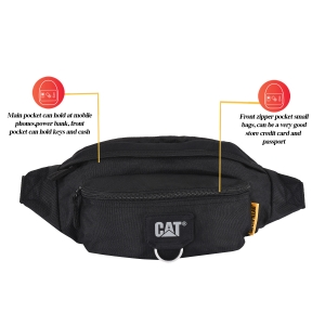 CAT Unisex Raymond Black Wasit Bag /Travel Pouch/ Passport Holder with Adjustable Belt  (83432-01)
