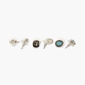 Lesk Set of Six Antique Stud Earrings