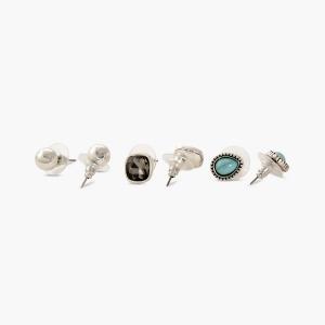 Lesk Set of Six Antique Stud Earrings