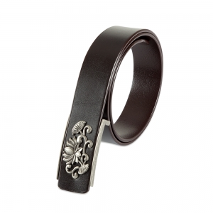 Rohit Bal Floral Buckle Coffee Brown Italian Leather Belt (32/34)