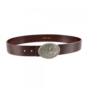 Rohit Bal Lotus Buckle Blood Red Italian Leather Belt (28/30)