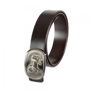 Rohit Bal Horse Buckle Coffee Brown Italian Leather Belt (28/30)
