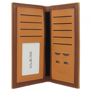 Vajero Leather Long Wallet  with Contrast Trims for Men