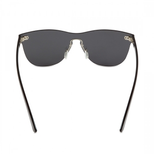 Rohit Bal Grey Mirrored Rimless Oval Sunglasses