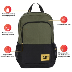 CAT Unisex Verbatim 22 Ltrs 2 Compartment Olive/Black Solid 15.6 Laptop Backpack (83675-19)