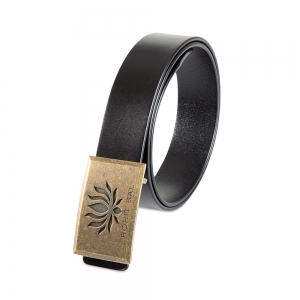 Rohit Bal Signature Lotus Buckle Black Italian Leather Belt (32/34)
