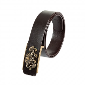 Rohit Bal Floral Buckle Coffee Brown Italian Leather Belt (28/30)