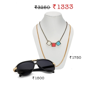 Caprio Double Bridge Sunglasses + Lesk Square Stones Necklace