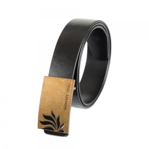 Rohit Bal Half Lotus Buckle Black Italian Leather Belt (32/34)