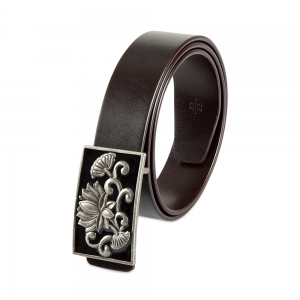 Rohit Bal Limited Edition Lotus Buckle Coffee Brown Italian Leather Belt (32/34)