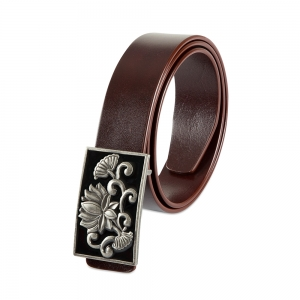 Rohit Bal Limited Edition Lotus Buckle Blood Red Italian Leather Belt (32/34)