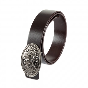 Rohit Bal Lotus Coffee Brown  Italian Leather Belt (32/34)