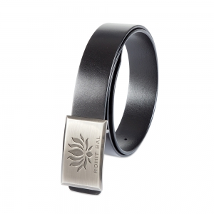 Rohit Bal Signature Lotus Buckle Black Italian Leather Belt (28/30)